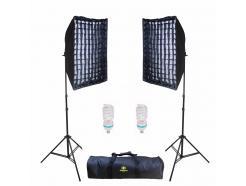 Kit Iluminação Estúdio Youtube Greika 2 Softbox 50x70cm Grid E Bolsa Ágata II *Promoção*