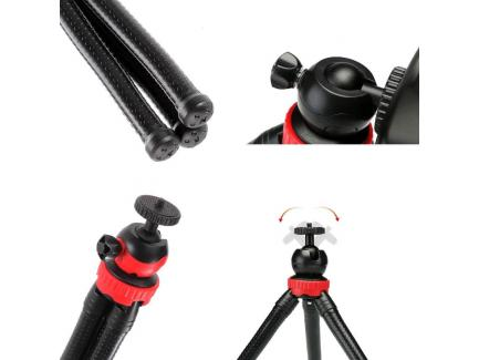Tripé Mini Flexível Com Cabeça E Suporte Para Celular