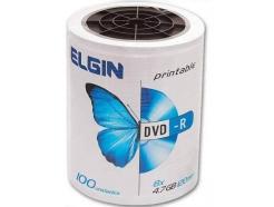 DVD-R 4.7GB ELGIN PRINTABLE 8X PINO COM 100 UNIDADES