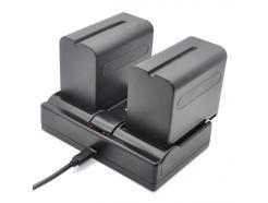 Carregador De Bateria Para Câmera Sony Np-F550, F970 Usb Dual Charge
