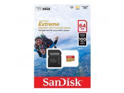 CARTÃO DE MEMÓRIA 64GB SANDISK MICRO SDHC 100MBS / 667X / CLASSE 10 EXTREME COM ADAPTADOR