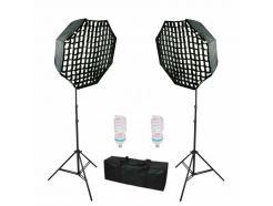 Kit Iluminação Estúdio Youtube Greika Octabox 60cm 220v Grid E Bolsa Ágata III *Promoção*