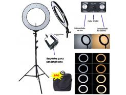 Iluminador Led Ring Light Bicolor 48cm Foto Make Com Tripé 2m E Acessórios