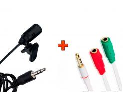 Microfone De Lapela Kanko Com Fio Trançado 1,8M E Adaptador P2 P3 Para Youtuber