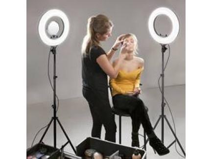 Iluminador Led Ring Light 35cm 40w Para Maquiagem Com Espelho, Suporte Celular, Bolsa E Tripé Easy
