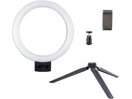 Iluminador Led Ring Light 23cm 10w Com Cabeça Ball Head, Suporte Celular E 2 Mini Tripés *De R$ 299,00 Por: