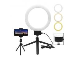 Iluminador Led Circular Ring Light 18cm Com Cabeça Ball Head, Suporte Celular E 2 Mini Tripés Easy