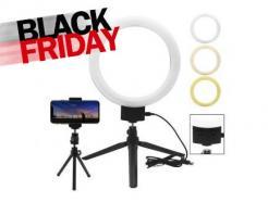 Iluminador Led Ring Light 23cm Com Cabeça Ball Head, Suporte Celular E 2 Mini Tripés *De R$ 299,00 Por: