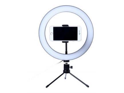 Iluminador Led Ring Light 23cm Com Cabeça Ball Head, Suporte Celular E 2 Mini Tripés