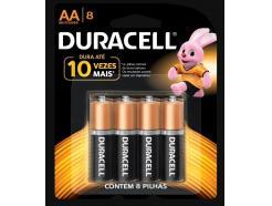 Pilha Duracell Alcalina Aa 1,5v Mn1500bb Pequena Com 8 Unidades