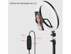Kit Iluminador Led Ring Light 23cm Bluetooth Tripé Mesa E Piso 1 Celular