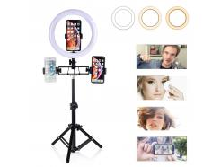 Kit Iluminador Led Ring Light 26cm Bluetooth Tripé Mesa E Piso 3 Celulares