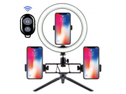 Kit Iluminador Led Ring Light 26cm Bluetooth Tripé Mesa E Piso 3 Celulares