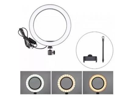 Kit Iluminador Led Ring Light 26cm Com Ball E Suporte Para Celular Sem Tripé