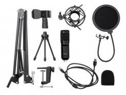 Kit Microfone Condensador Com Pop Filter E Braço Articulado Para Podcast