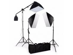 Kit Iluminação 2 Softbox 50x70cm E 1 Softbox 50x50cm + 1 Girafa, 2 Tripés 2m E Bolsa Sb03-K
