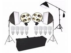 Kit Iluminação Estúdio Pro Tricool 1395w Completo Youtube Greika Softbox 50x70cm 220v Tripé Girafa Ágata