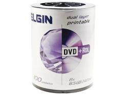 DVD+R 8.5GB ELGIN DUAL LAYER PRINTABLE 8X PINO COM 100 UNIDADES