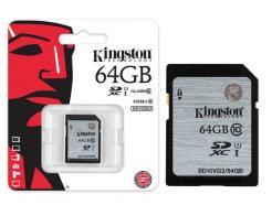 CARTÃO DE MEMÓRIA 64GB KINGSTON SDXC 45MBS / CLASSE 10 UHS-I